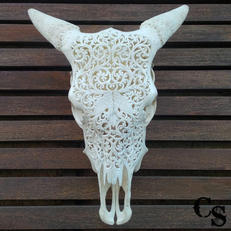 Hand carved bull cow skull with flower design and lace
