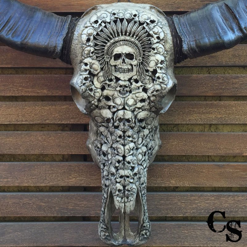 Hand carved buffalo skull with indian chief design