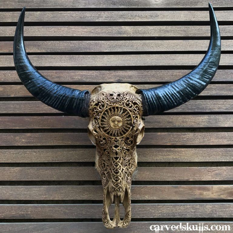 Carved Buffalo Skull with Sun Design – Antique IMG 0338w 768x768
