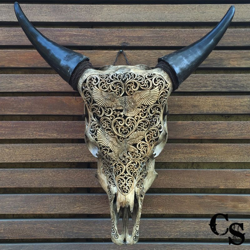 Carved Bull Cow Skull With Eagle Design Antique Carved