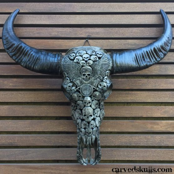 Carved Buffalo Skull with Biker Skull Design – Grey IMG 3332w 555x555