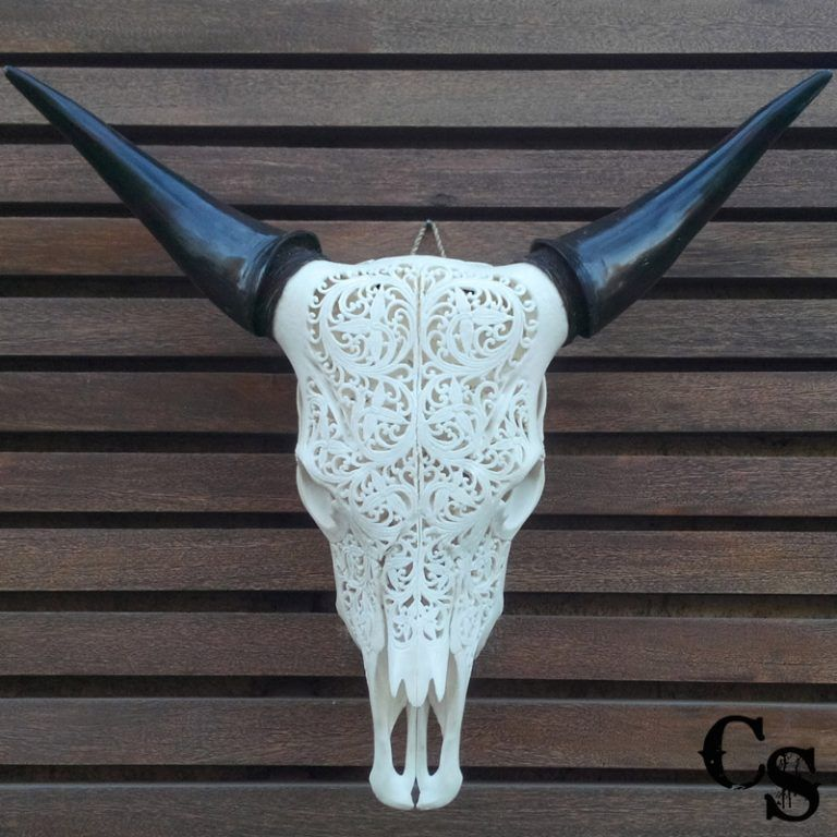 Carved Bull Cow Skull with Floral Design – White floral2 768x768
