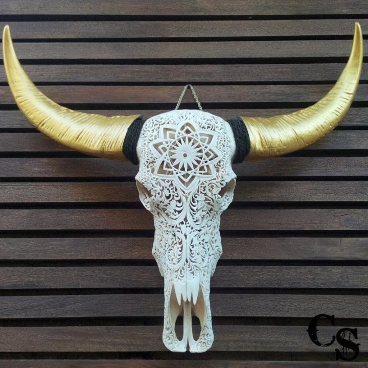 Carved Buffalo Skull with Floral Mandala Design and Gold Horns – White carved buffalo skull with gold horns a 720x720