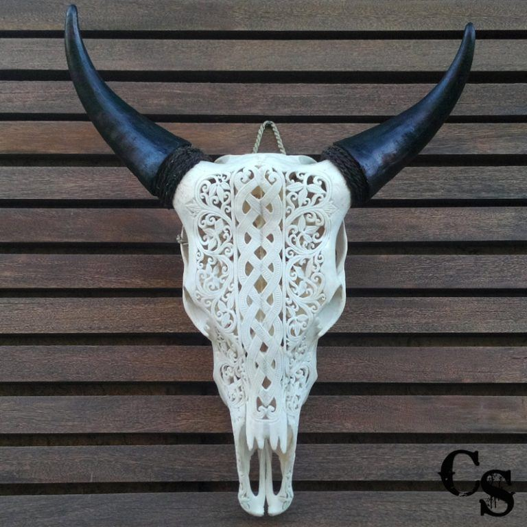 Carved Bull Cow Skull with Celtic Design – White celtic skull a 768x768