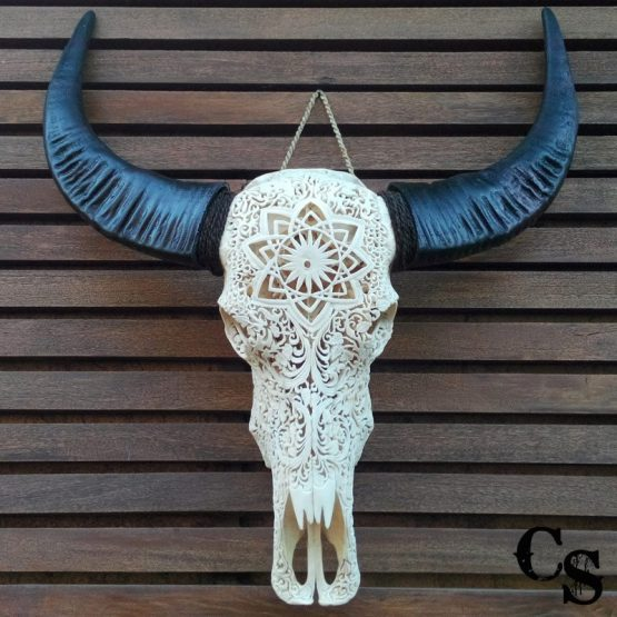 Carved Buffalo Skull with Floral Mandala Design – White IMG 20150512 083653w 555x555