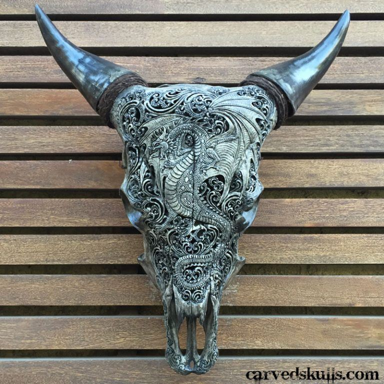 Carved Bull Cow Skull with Dragon Design – Grey IMG 3696w 768x768