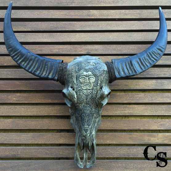 Carved Buffalo Skull with Native American Design – Grey b1b 555x555