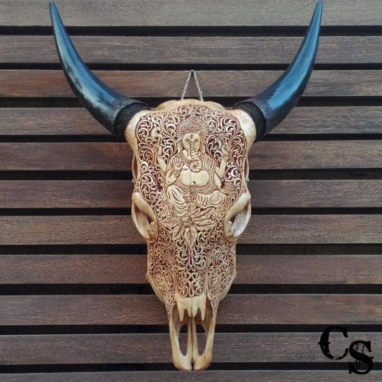 Carved Bull Cow Skull with Ganesha Design – Antique cow skull ganesha 1 768x768