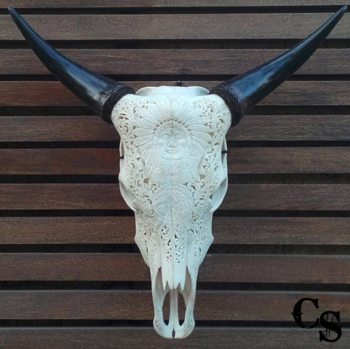 Carved Bull Cow Skull with Indian Chief Design – White indian1c 720x719