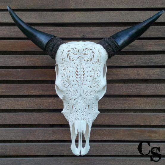 Carved Bull Cow Skull with Tribal Design – White 2w 555x555
