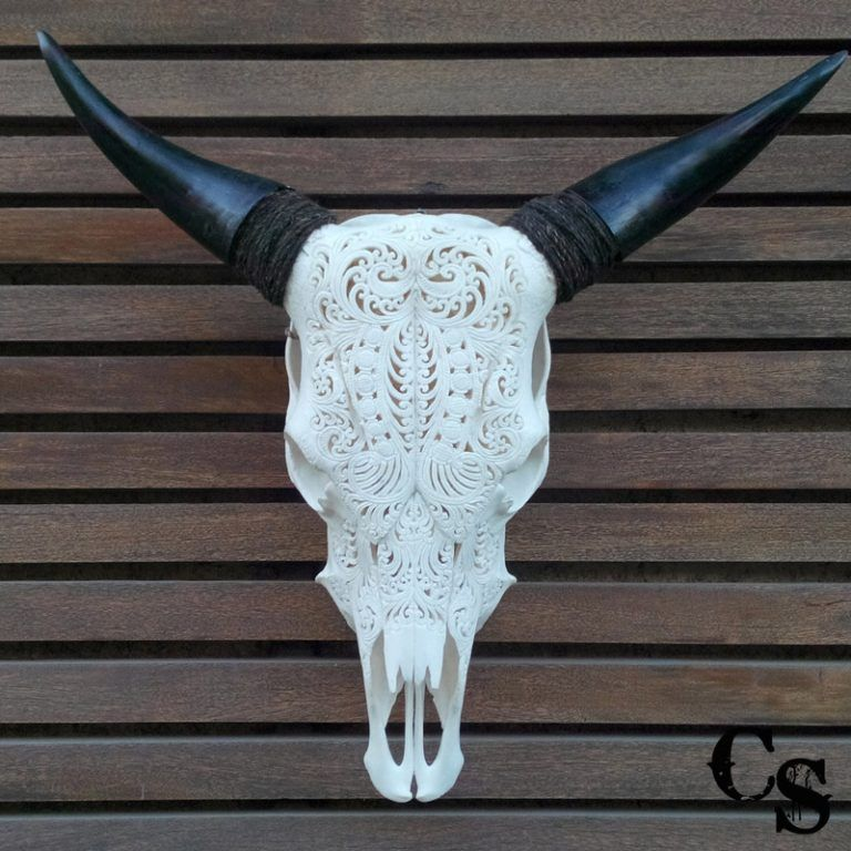 Carved Bull Cow Skull with Tribal Design – White 2w 768x768