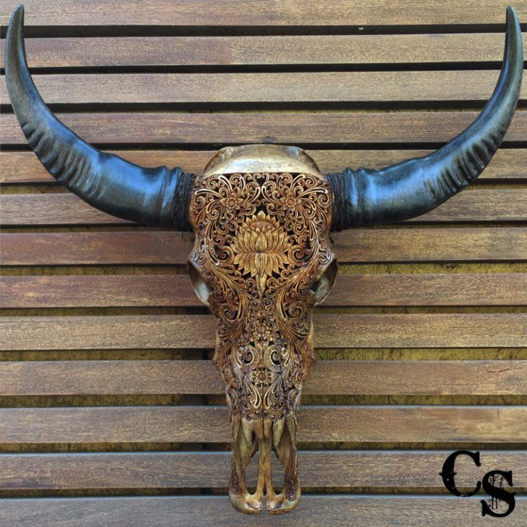Carved Buffalo Skull with Lotus Flower Design – Antique lotus 768x768