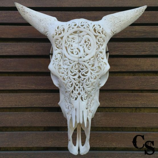 Carved Bull Cow Skull with Om Design and Lace Horns wsc1 555x555