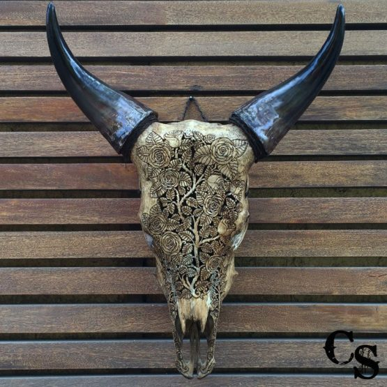 Carved Bull Cow Skull with Roses Design – Antique IMG 1166done 555x555