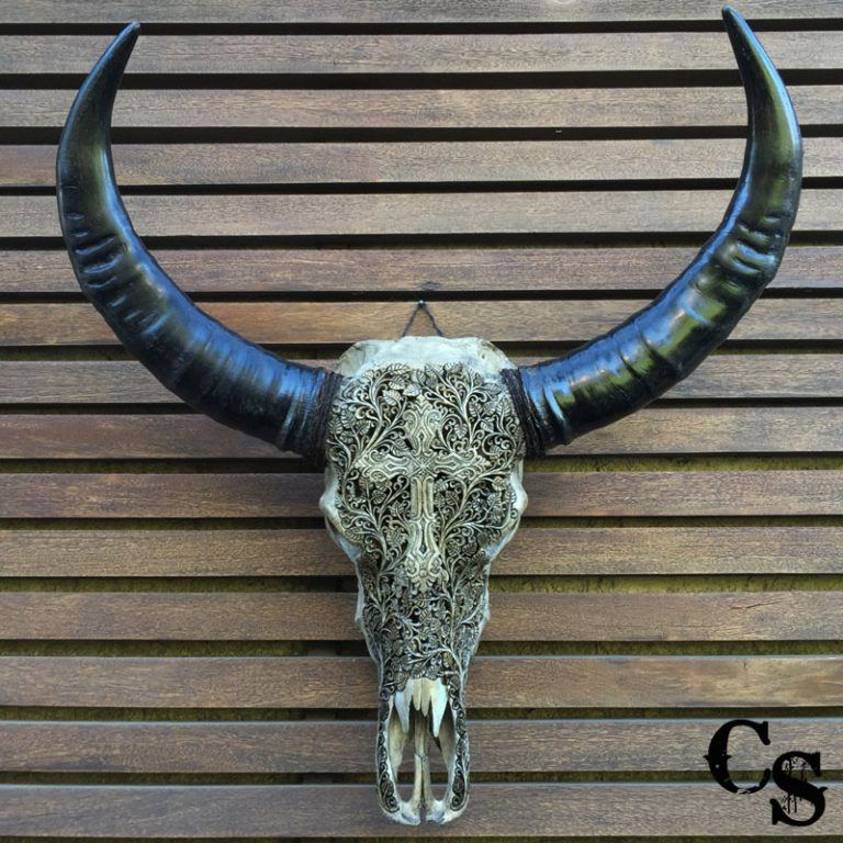 Carved Buffalo Skull with Cross Design – Antique IMG 1168ccw 768x768