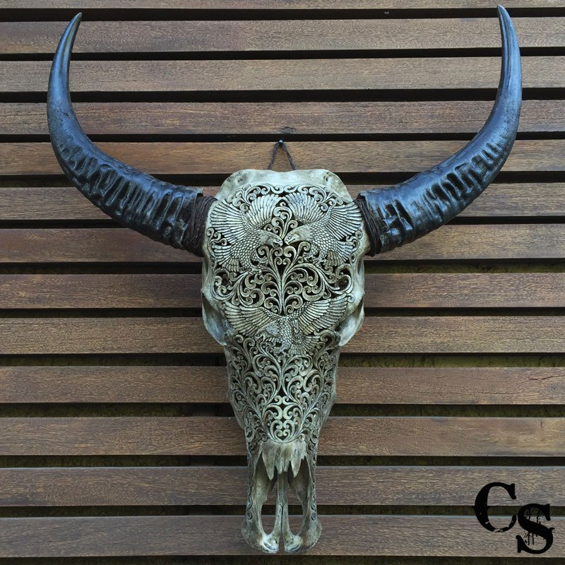Carved buffalo skull eagles design grey skulls