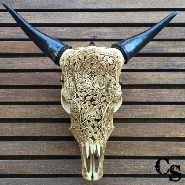 Carved Bull Cow Skull with Mandala Design – Antique cm4 768x768