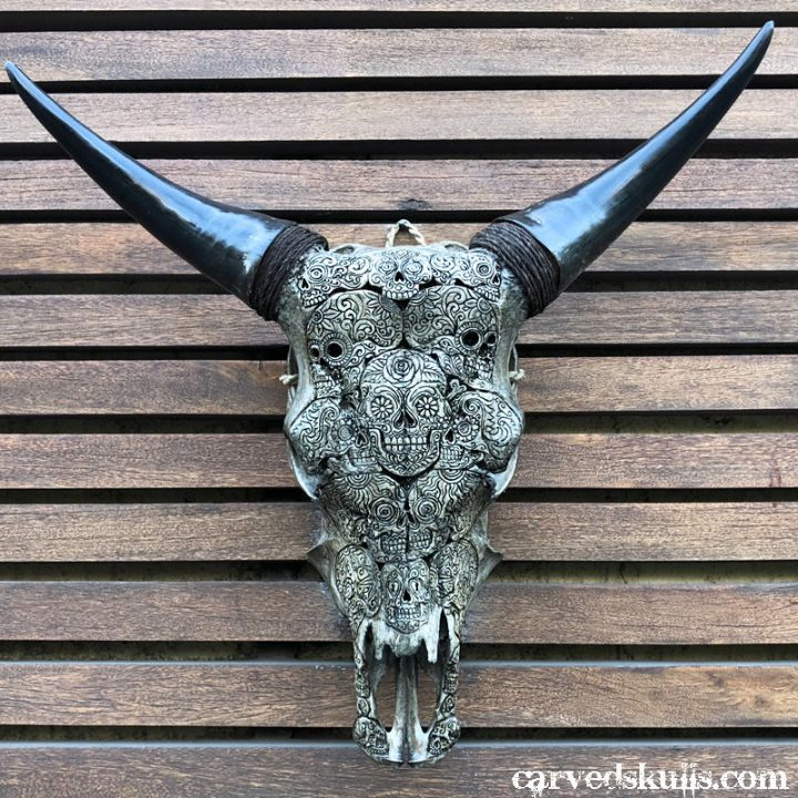 Carved Bull Cow Skull with Sugar Skull Design – Antique IMG 2413w 720x720