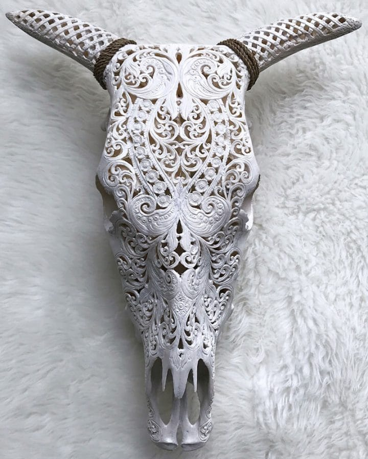 Cow Trible White Carved Horns XL size – 1 item BCN2 720x898