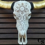 carved buffalo skull with gold horns b
